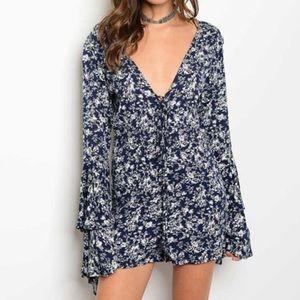 Dresses & Skirts - New Navy Blue & White Floral Boho Romper