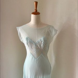 Vintage baby blue lace night gown