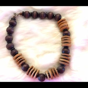 American Vintage Jewelry - Boho Vintage Wooden Bead Necklace