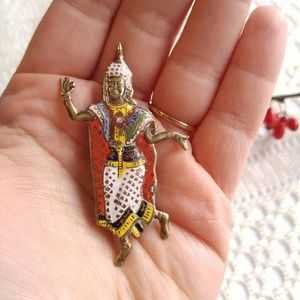 Vintage Jewelry - Vintage Siam Dancer brooch! Enamel gold