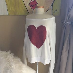 Wildfox Sparkle Heart Pullover Sweatshirt