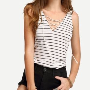 Tops - 🎉V neck striped lace up tank NWOT