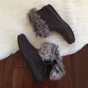 Madden Girl Shoes - | Madden Girl | Charcoal Fur Moccasin Booties