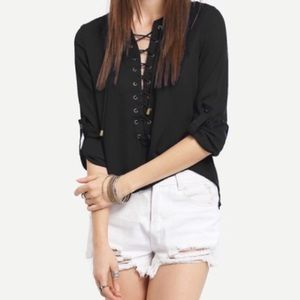 Tops - 🎉Laced up rolled sleeve chiffon blouse S