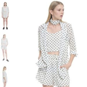 White Polka dot set 3-piece (short, top, blouse)