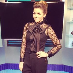 Style Mafia Tops - Black long sleeve lace top with tie and cami