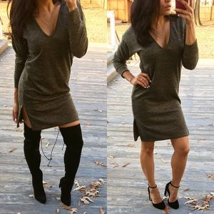 Dresses & Skirts - •1DAYSALE• Soft olive side slit V neck dress