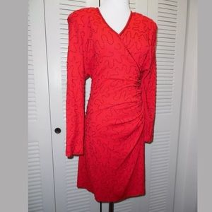 Carmen Marc Valvo Red Holiday Dress