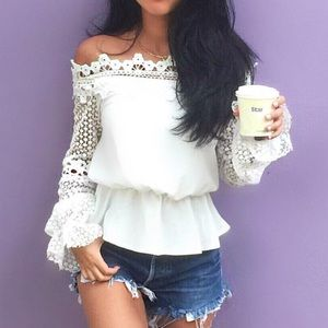 Style Mafia Tops - White off the shoulder blouse with lace detail s m