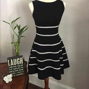 ERIN by Erin Fetherston Dresses & Skirts - Black dress with flared skirt & white mesh stripes