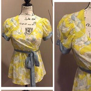 Odille floral silk wrap top