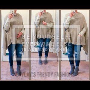 Sweaters - Soft  Poncho- MUSHROOM