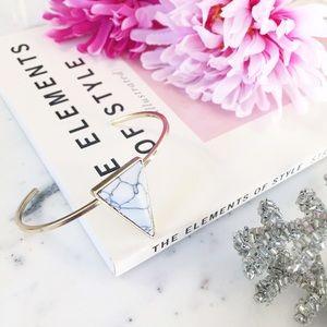 "Erica Rose Jewelry - ""Olivia"" Bracelet || White Marble Triangle Cuff"