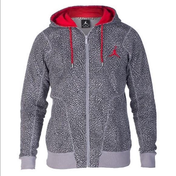 Jordan Other - AIR JORDAN Zip Fleece Hoodie Jacket Grey Fire Red 66045513742f