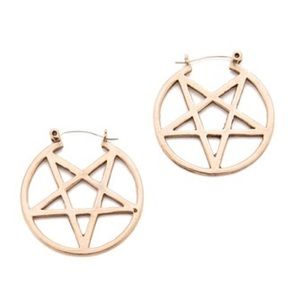 Pamela Love Jewelry - Pamela Love Tose Gold Mini Pentagram Hoop Earrings