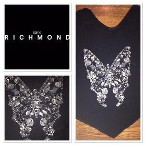 Richmond Tops - John Richmond blutterfly TShirt