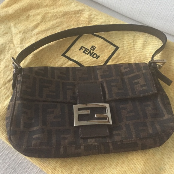 Fendi Handbags - Classic Fendi Brown Zucca Baguette Bag
