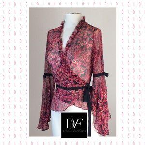 Diane von Furstenberg Tops - Lovely DVF sheer silk lipstick print wrap blouse