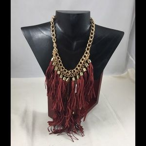 simplylovable Jewelry - Burgundy Layered Fringe Necklace