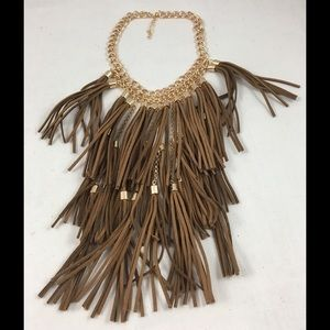 simplylovable Jewelry - Cognac Fringe Layered Necklace