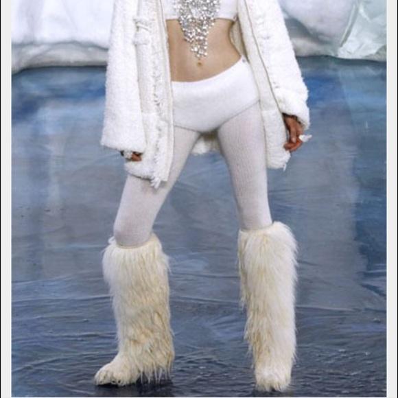 Chanel White Fur Boots Ice Heel