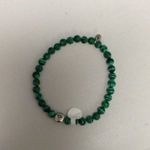 Tateossian Jewelry - Green beaded bracelet with silver accents