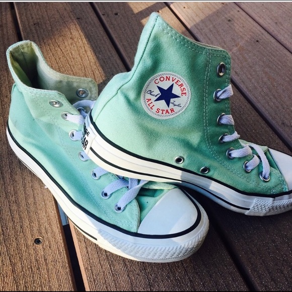 Converse Shoes - Mint Green All Star Converse High Top Sneakers SZ6 5471a50d8