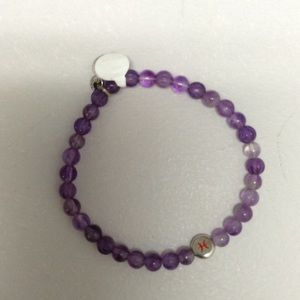 Tateossian Jewelry - Purple beaded bracelet with two silver accents