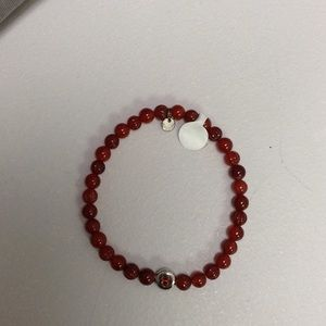 Tateossian Jewelry - Red beaded bracelet with two silver accents
