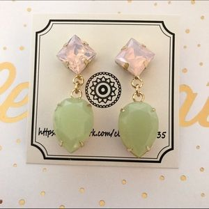 Jewelry - Pink and Green Drop Earrings