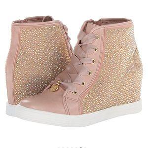 Stuart Weitzman Shoes - Stuart Weitzman Nude Pink Sparkle Wedged Sneakers