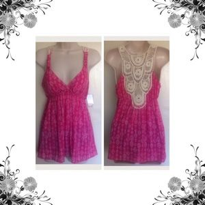 Pink Rose Tops - Crochet Back Tank Top