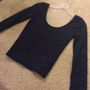 Long Sleeve Navy Crop Top from Hollister