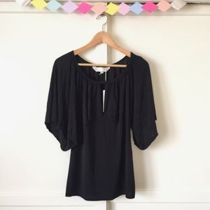 Tops - Trina Turk Black Flowy Blouse with Center Slit