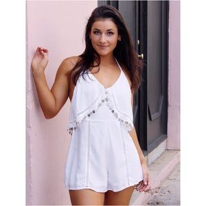 Pants - New Gypsy Boho White Coin Romper