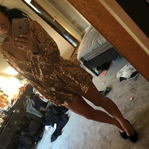 e656516379b1 Lulu s Dresses - Good as Gild Gold Sequin Romper