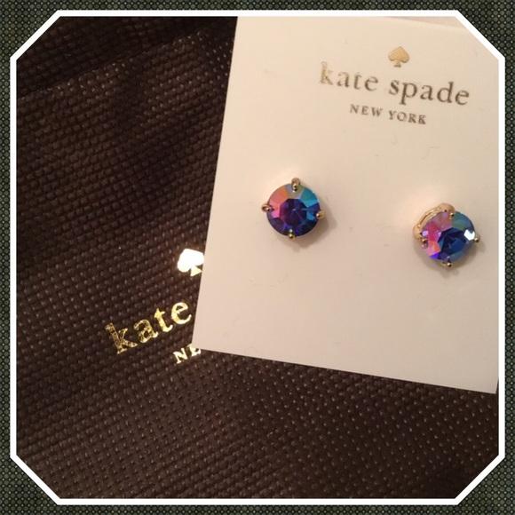 030350486278f Kate Spade Blue AB Small Gumdrop Stud Earrings New NWT