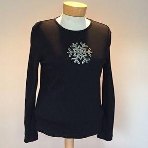 Karen Scott Tops - Karen Scott Silver sequin snowflake top. small