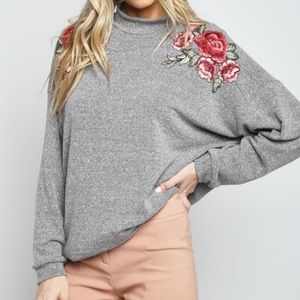 NEW HEATHER GREY FLORAL PATCH LONG SLEEVE TOP