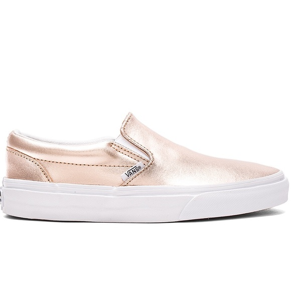 438830604a9 Metallic rose gold Van slip ons