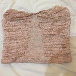 Pink corset crop top sz s