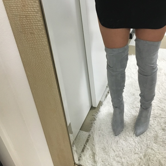 73 zara shoes grey faux suede thigh high heel boots