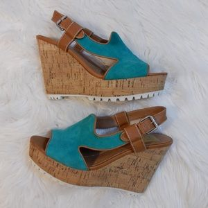 DV by Dolce Vita Jamila Teal Suede & Cork Wedges
