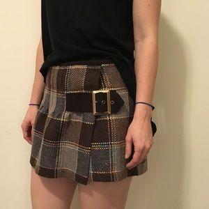 Free People Dresses & Skirts - FREE PEOPLE Brown Plaid Buckle Wrap Skirt