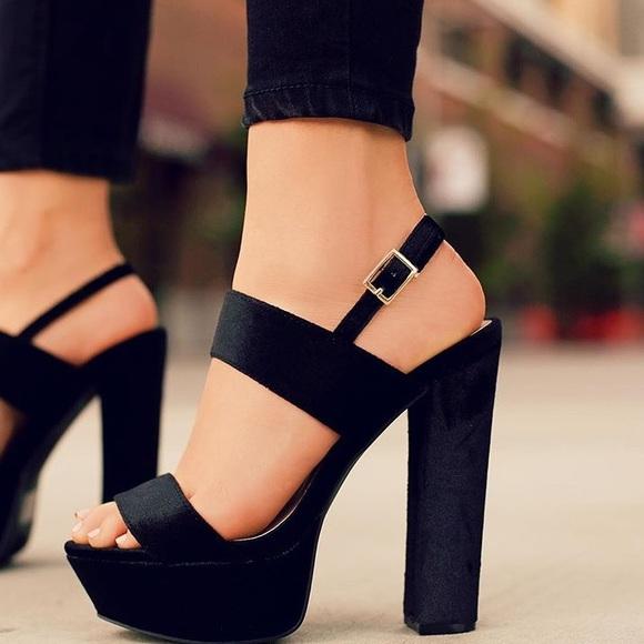Shoes   Black Velvet Platform Heels