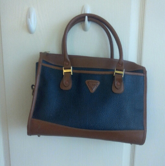 Guess Handbags - Final Cut 💙Guess Large Navy Blue   Brown Bag bfddb02b6743e