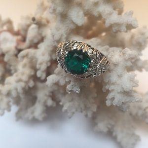 Edwardian emerald ring 1ct natural gemstone