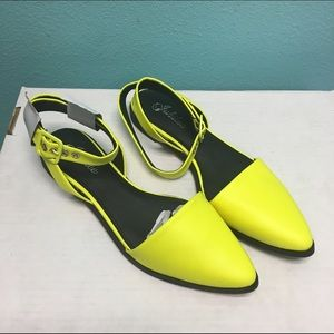 Neon yellow ankle strap pointy flats