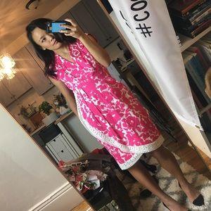 Bright pink lace trim wrap dress