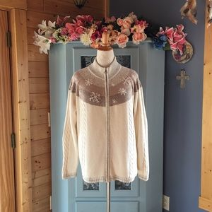 Holiday Lodge Sweaters - SweaterCoat Cardigan w/Embroidery & Pearls SOFT!!
